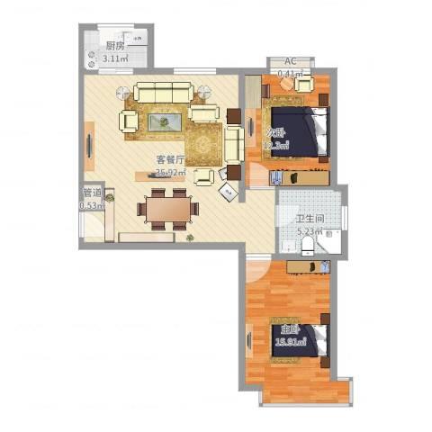 碧水蓝山2室2厅1卫1厨92.00㎡户型图
