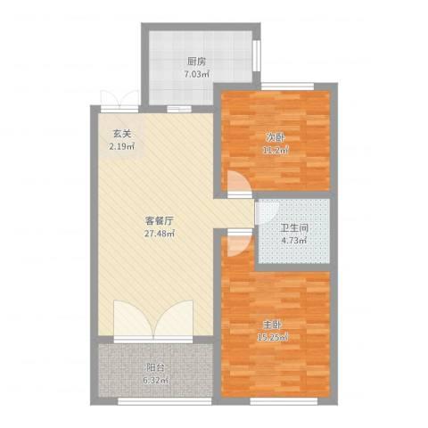 秀兰森活里2室2厅1卫1厨90.00㎡户型图