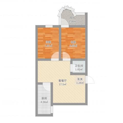 华颖花园2室2厅1卫1厨55.00㎡户型图