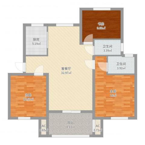 金色蓝庭3室2厅2卫1厨116.00㎡户型图