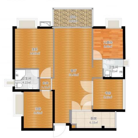 九江中航城4室1厅2卫1厨116.00㎡户型图