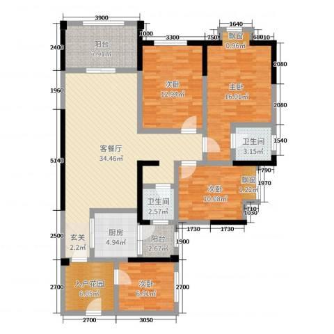 滨江翡翠城4室2厅2卫1厨111.00㎡户型图