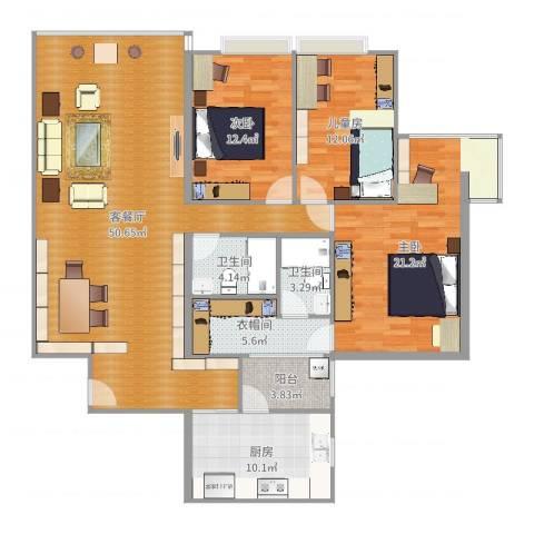 都市华庭3室2厅2卫1厨154.00㎡户型图