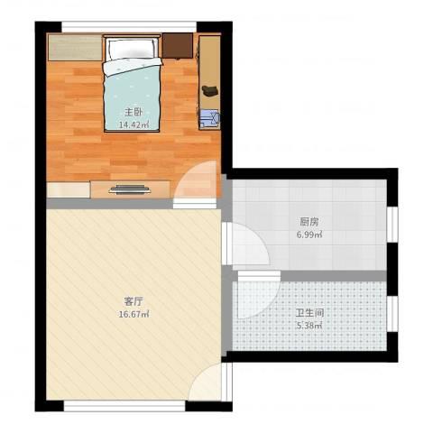 万富汇1室1厅1卫1厨54.00㎡户型图