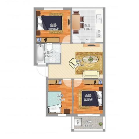 园丁小区3室1厅1卫1厨74.00㎡户型图