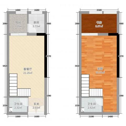 嘉龙尚都2室2厅2卫1厨59.20㎡户型图