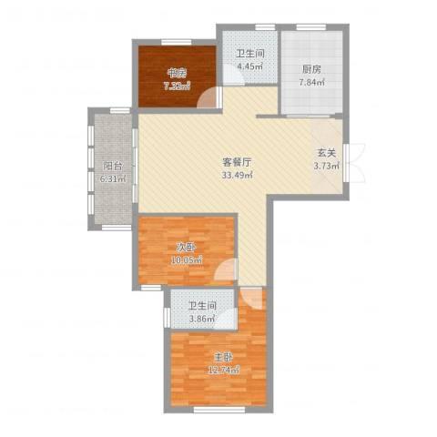 稽山南苑三期3室2厅2卫1厨108.00㎡户型图