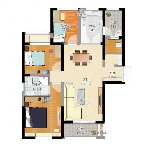 长高圆梦佳苑1室1厅1卫1厨109.00㎡户型图