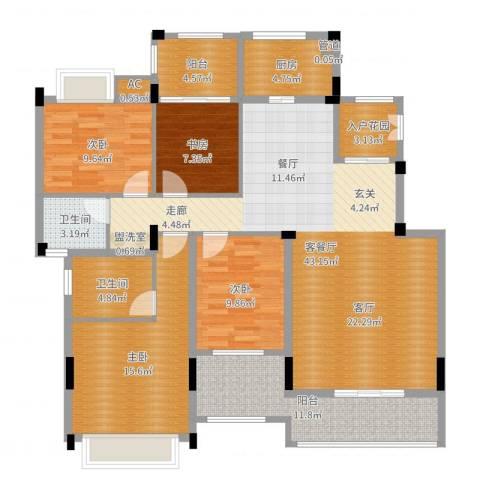 金地三千府4室2厅2卫1厨148.00㎡户型图