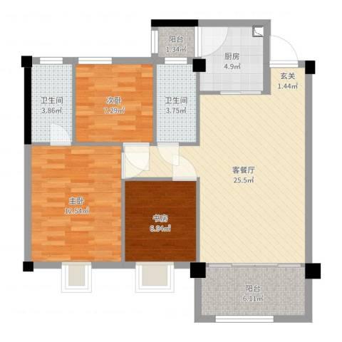 都市晴园3室2厅2卫1厨90.00㎡户型图
