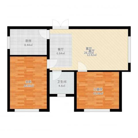 艺术家公寓2室1厅1卫1厨91.00㎡户型图