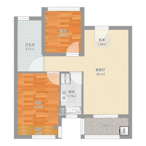 朗诗未来街区2室2厅1卫1厨65.00㎡户型图