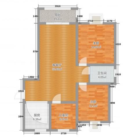奥林春天3#楼063室2厅1卫1厨101.00㎡户型图