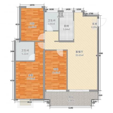 中都沁园3室2厅2卫1厨128.00㎡户型图