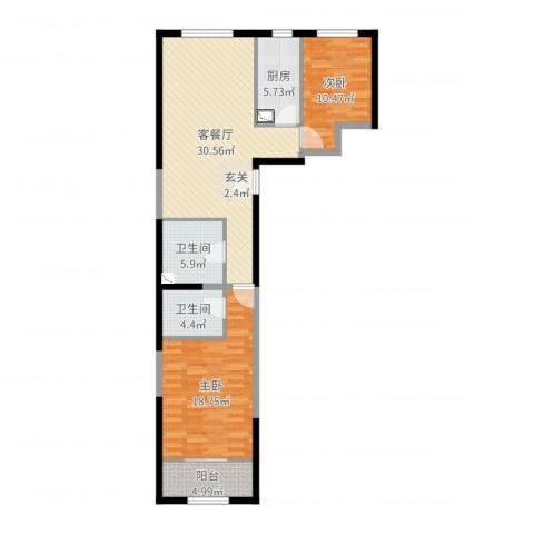北花园小区2室2厅2卫1厨101.00㎡户型图