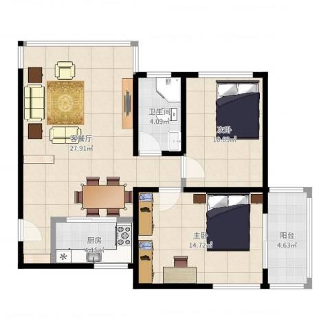 东方牡丹园2室2厅1卫1厨83.00㎡户型图