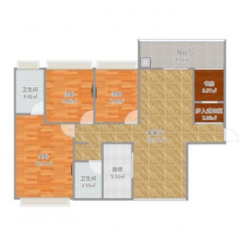 汇乔金色名都4室2厅2卫1厨116.00㎡户型图