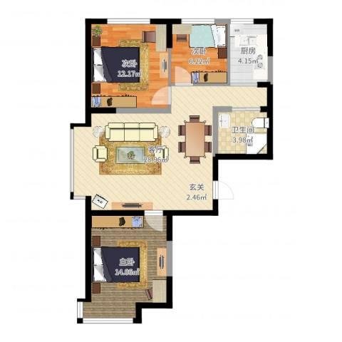 光明小区3室1厅1卫1厨87.00㎡户型图