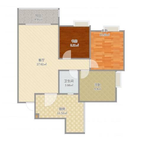 书香府邸3室1厅1卫1厨95.00㎡户型图