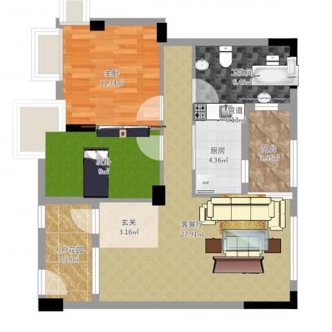 阜丰豪庭2室2厅1卫1厨86.00㎡户型图