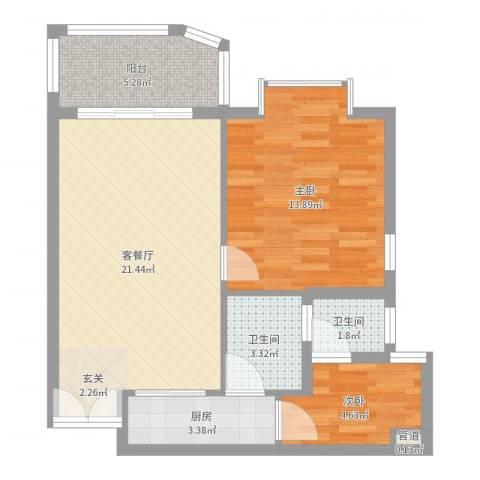 嘉宝花园二期2室2厅2卫1厨67.00㎡户型图