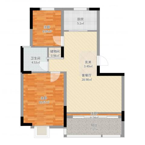 洛城德院3室2厅1卫1厨90.00㎡户型图