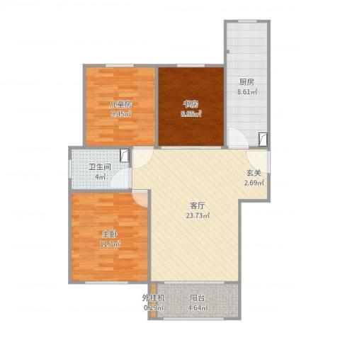 宏程华苑3室1厅1卫1厨89.00㎡户型图