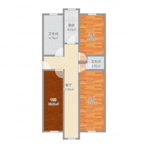福华庄园3室1厅2卫1厨74.00㎡户型图