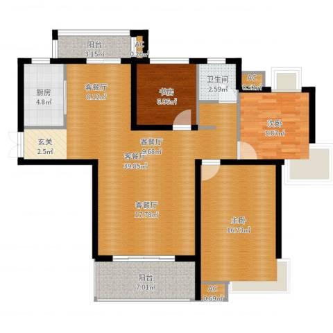 康城上品3室2厅1卫1厨114.00㎡户型图