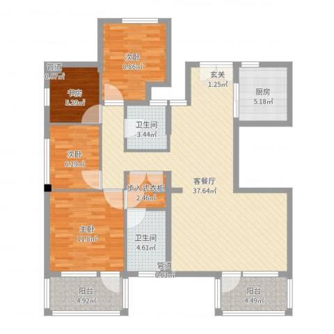 水月周庄4室2厅2卫1厨119.00㎡户型图