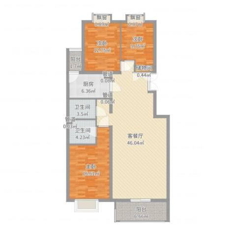 银谷美泉家园3室2厅2卫1厨135.00㎡户型图