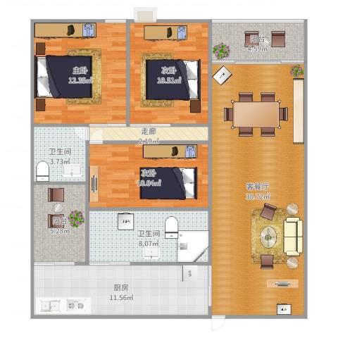 盈翠华苑3室2厅2卫1厨124.00㎡户型图