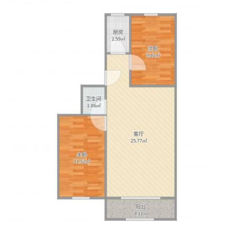 华龙苑南里2室1厅1卫1厨69.00㎡户型图