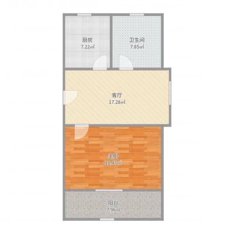 丰庄十四街坊1室1厅1卫1厨73.00㎡户型图