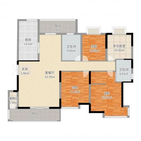 曲江荣禾曲池坊3室2厅2卫1厨206.00㎡户型图