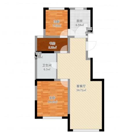 松原中信城3室2厅1卫1厨108.00㎡户型图