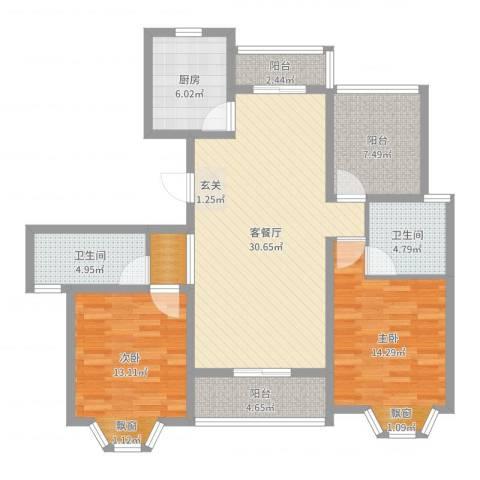 华府壹区2室2厅2卫1厨112.00㎡户型图
