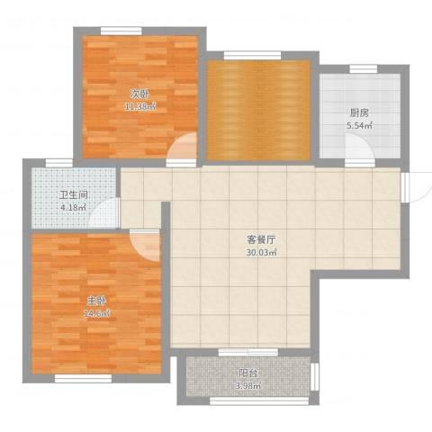 农房・名宿华府2室2厅1卫1厨98.00㎡户型图