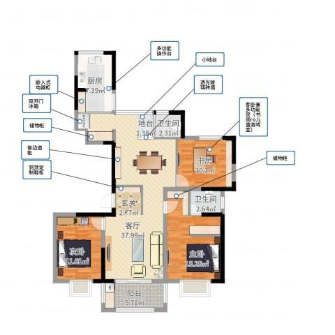 九龙华府3室1厅2卫1厨116.00㎡户型图