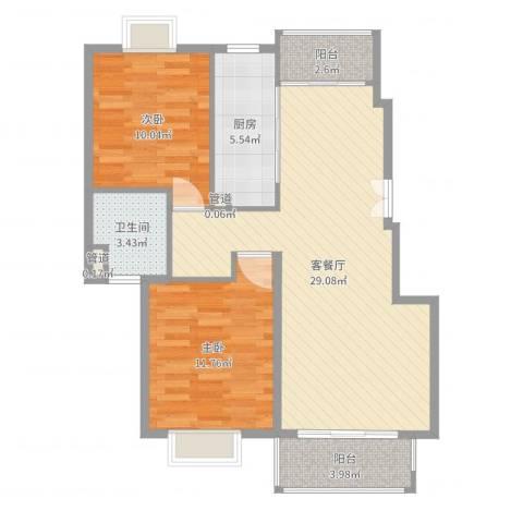 远景佳苑三期2室2厅1卫1厨83.00㎡户型图