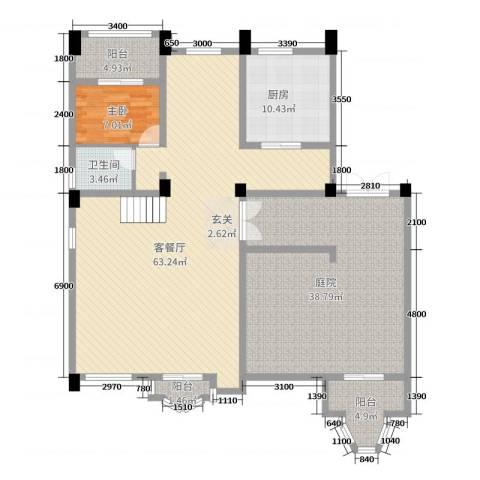 东方威尼斯1室2厅1卫1厨250.00㎡户型图