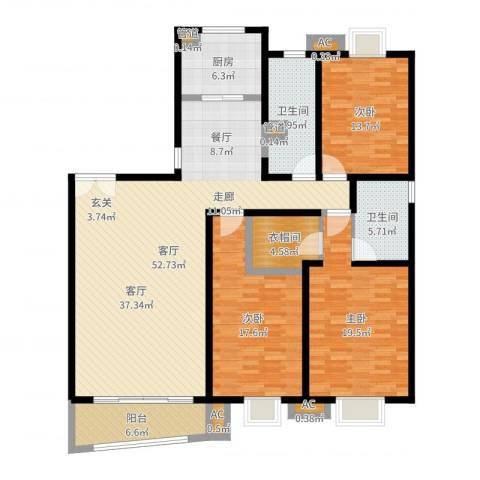 中天汇丽华城3室1厅2卫1厨169.00㎡户型图