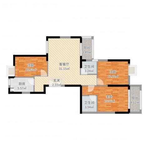 古龙山语听溪3室2厅2卫1厨112.00㎡户型图