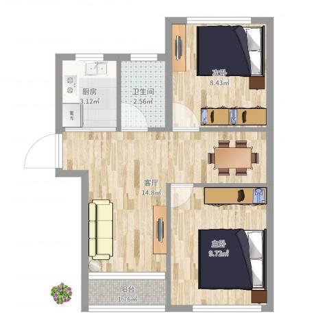 金塔新村2室1厅1卫1厨50.00㎡户型图