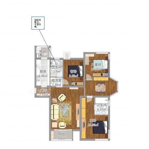 金汉绿港3室3厅2卫1厨117.00㎡户型图