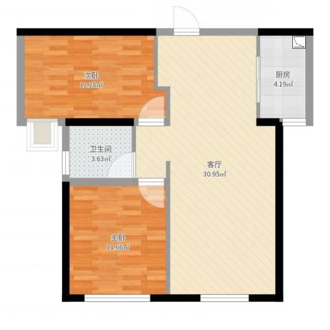 铂悦山2室1厅1卫1厨78.00㎡户型图