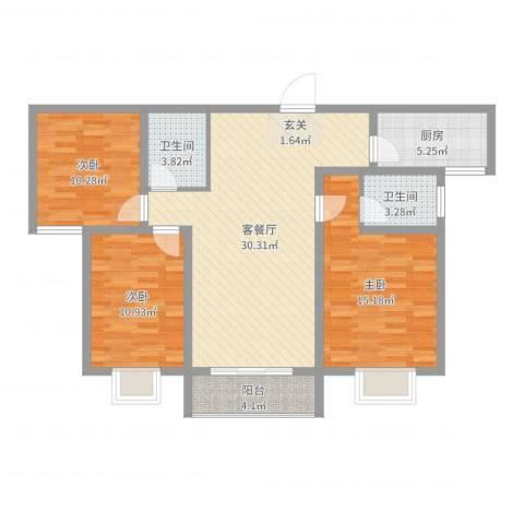 柳青齐鲁园3室2厅2卫1厨104.00㎡户型图