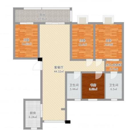海门翠湖天地4室2厅2卫1厨153.00㎡户型图