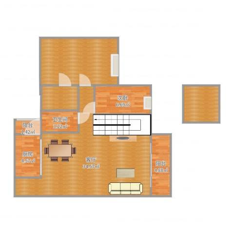 海逸豪庭1室1厅1卫1厨106.00㎡户型图