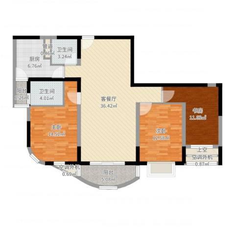 江岸名都3室2厅2卫1厨123.00㎡户型图
